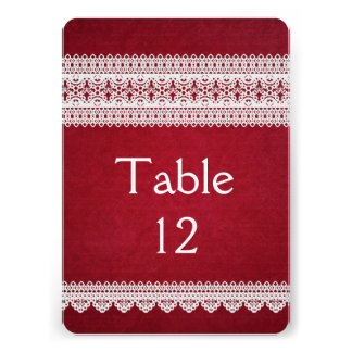 Elegant Floral Lace Red Table card