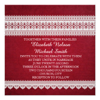Elegant Floral Lace Red Wedding Invite