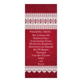 Elegant Floral Lace Red Wedding Menu Custom Announcement Cards
