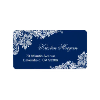 Elegant Floral Lace Stylish Navy Blue White Label