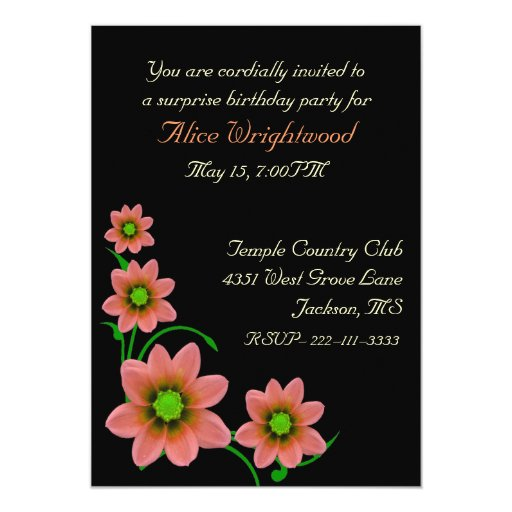 "Elegant Floral Ladies Birthday Invitation 5"" X 7"" Invitation Card"