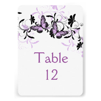 Elegant Floral Lavender Butterfly Table card