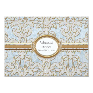 Elegant Floral Leaf Damask Baroque Gold Swirl Card