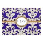 "Elegant Floral Leaf Damask Baroque Gold Swirl Card 3.5"" X 5"" Invitation Card"
