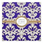 """Elegant Floral Leaf Damask Baroque Gold Swirl Card 5.25"""" Square Invitation Card"""