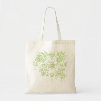 Elegant Floral, Leaf Green and Aqua Budget Tote Bag