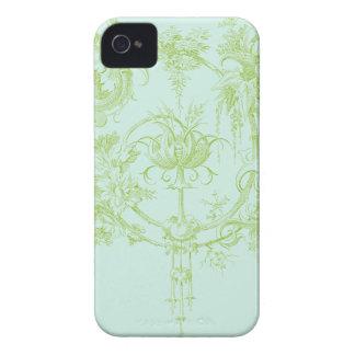 Elegant Floral, Leaf Green and Aqua Case-Mate iPhone 4 Case