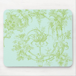 Elegant Floral, Leaf Green and Aqua Mouse Pad