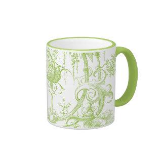 Elegant Floral Leaf Green and Aqua Mugs