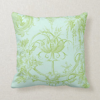 Elegant Floral, Leaf Green and Aqua Throw Pillow
