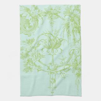 Elegant Floral, Leaf Green and Aqua Towel