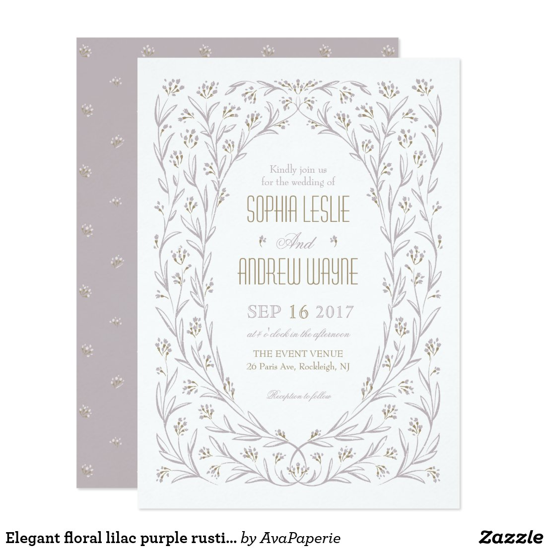 Elegant floral lilac purple rustic wedding card