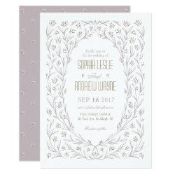 Elegant floral lilac purple rustic wedding card