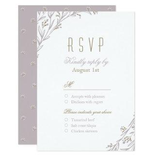 Elegant floral lilac rustic wedding  RSVP Card