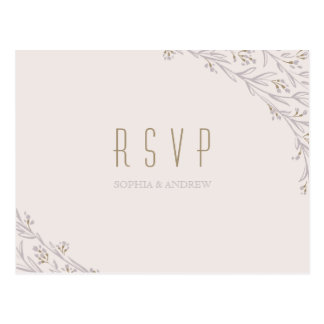 Elegant floral lilac rustic wedding RSVP Postcard