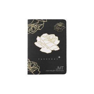elegant floral look black travel passport holder