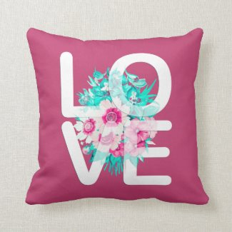 Elegant Floral Love Typography | Throw Pillow