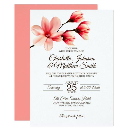 Coral Colored Wedding Invitations: Elegant Floral Magnolia Coral Pink Color Wedding