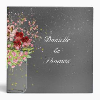 Elegant Floral Mason Jar Wedding Photo Album 3 Ring Binder