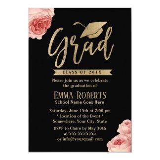 Elegant Floral Modern Gold Graduation Party Card