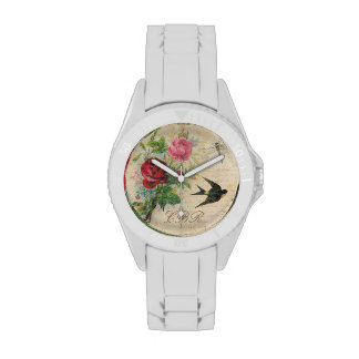Elegant Floral Monogram Pink Roses Bird Dragonfly Watches