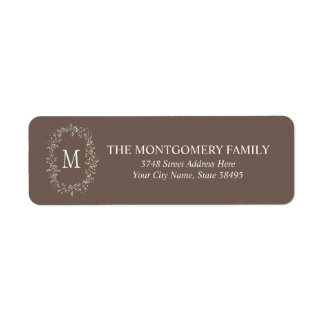 Elegant Floral Monogram Return Address Labels