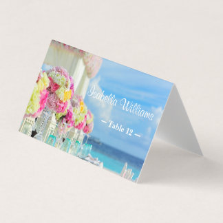 Elegant Floral Ocean Beach Summe Place Escort Card