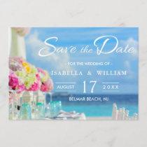Elegant Floral Ocean Beach Summer Save the Date