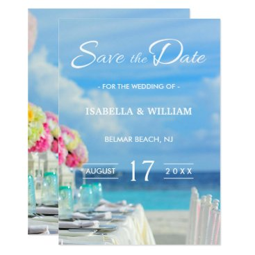 Beach Themed Elegant Floral Ocean Beach Summer Save the Date Card
