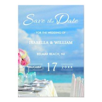 Elegant Floral Ocean Beach Summer Save the Date Card