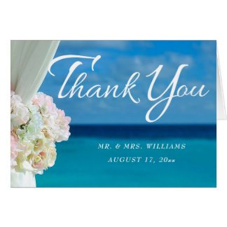 Elegant Floral Ocean Beach Summer Thank You Card