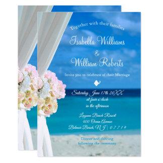 Elegant Floral Ocean Beach Summer Wedding Card