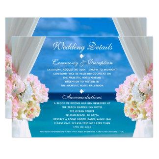 Elegant Floral Ocean Beach Summer Wedding Details Invitation