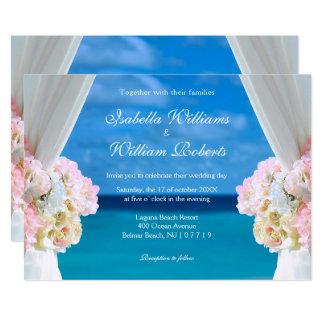 Elegant Floral Ocean Beach Summer Wedding Gate Invitation
