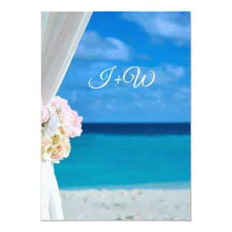 Elegant Floral Ocean Beach Summer Wedding Invitation