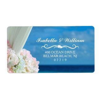 Elegant Floral Ocean Beach Summer Wedding Label