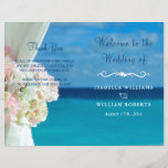 """Elegant Floral Ocean Beach Summer Wedding Program<br><div class=""""desc"""">Elegant floral ocean beach summer wedding design. The text can be changed using right the &quot;Details&quot; menu. To fit everything to your needs please click the &quot;Customize&quot; button and you can text style and backround colour change. Other colors are available. Please contact me if you need help or matching items....</div>"""