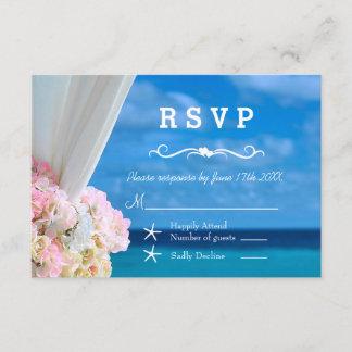 Elegant Floral Ocean Beach Summer Wedding RSVP