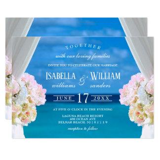 Elegant Floral Ocean Beach Wedding Invitation