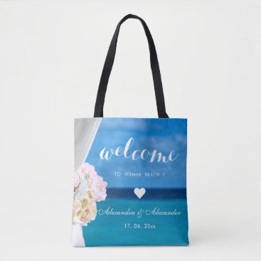 Beach Themed Elegant Floral Ocean Beach Wedding Welcome Favour Tote Bag