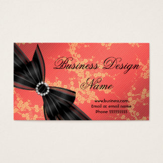 Elegant Floral Orange Blossom Black Diamond Bow Business Card