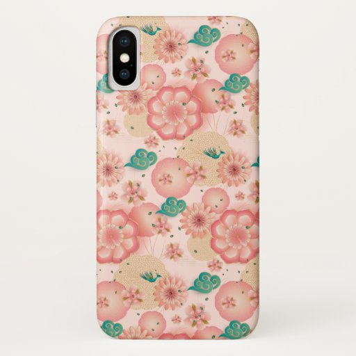 Elegant Floral Ornament Spring Peach Garden Boho iPhone XS Case
