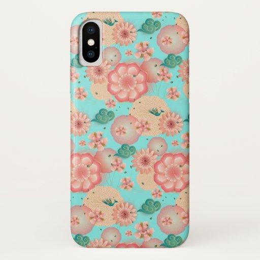 Elegant Floral Ornament Spring Peach Garden Boho iPhone XS Case
