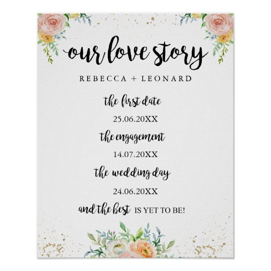 Elegant Floral Our Story Timeline Sign For Wedding