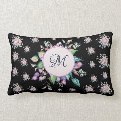 Elegant Floral Pastel Watercolor Monogram Black Lumbar Pillow