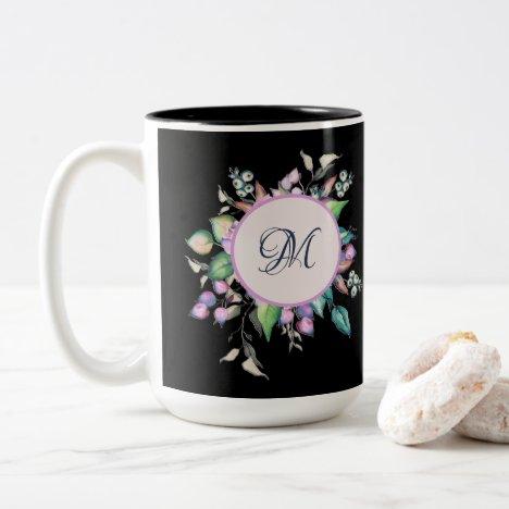 Elegant Floral Pastel Watercolor Monogram Black Two-Tone Coffee Mug