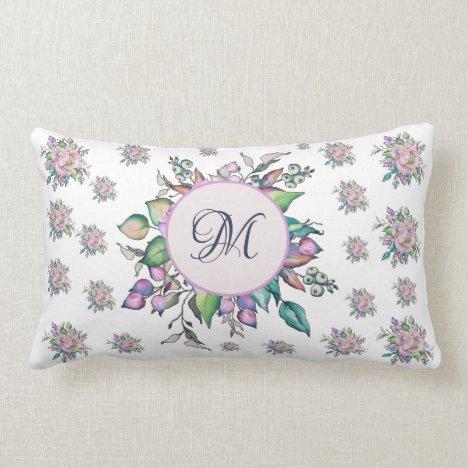 Elegant Floral Pastel Watercolor Monogram Lumbar Pillow