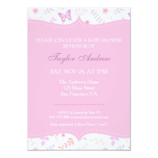 Elegant Floral Pattern Butterfly Baby Shower Card