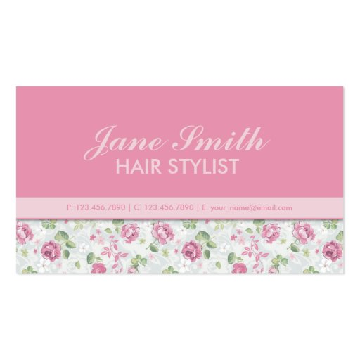 Elegant Floral Pattern Hairdresser Stylist Salon Double-Sided Standard Business Cards (Pack Of 100)