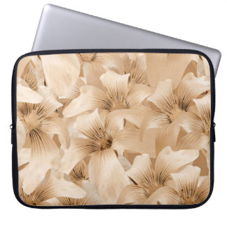 Elegant Floral Pattern in Light Ocher Tones Laptop Sleeve